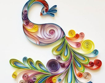 "Quilled Paper Art: ""Colourful Peacock"" - Handmade Artwork - Paper Wall Art - Home Decor - Wall Decor - Home Decoration - Quilled Art"