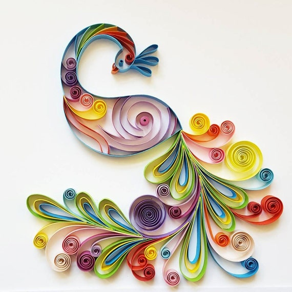 Quilling Wall Art Design : Quilled paper art colourful peacock handmade