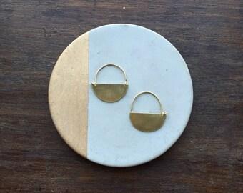 Half Moon Brass Earrings