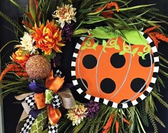 Pumpkin Grass Wreath, Door Decoration,  Fall Wreath
