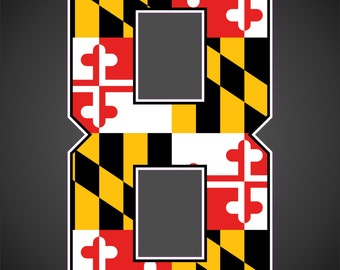 Heat Transfer numbers with Maryland flag inside. Just pick the numbers you want