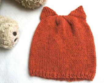 100% alpaca knitted fox hat, orange knit hat whith ears, fox ears alpaca hat