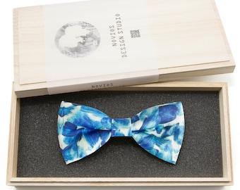 Blue Stoke Bowtie - Modern Boys Bowtie, Toddler Bowtie, Wedding, Abstract, Groomsmen bow tie, Pre Tied and Adjustable Novioshk, H0186