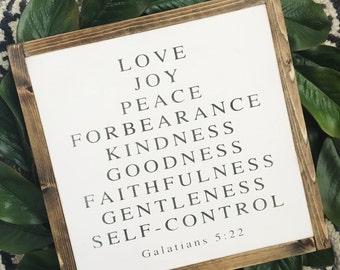 24x24 Galations 5:22 | wood sign | framed farmhouse sign | scripture | fixer upper decor