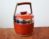 Mid Century Modern Red Leather Ice Bucket, vintage barware circa 1950s; chrome details, plastic interior