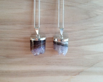 Silver Dipped Amethyst Necklaces Half Cylinder {Silver Plated Chain}