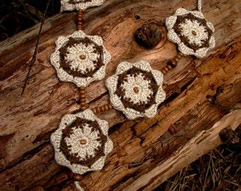Crochet necklace, crochet cotton jewelry, beads, knitted jewelry, linen jewelry, boho jewelry, textile beads, lace jewelry, boho necklace