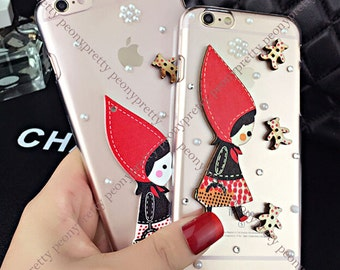rhinestones faux pearl iphone 5/5s/6/6 plus mobile cell phone cover case