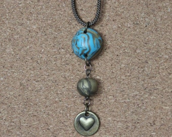 2 Bead Polymer Clay Pendant with Brass Heart Pendant