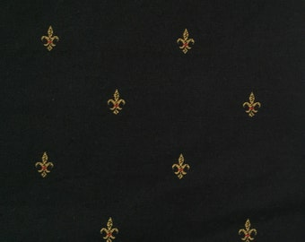 Black and Gold - Fleur de lis Fabric - Traditional Fabric - Upholstery Fabric By The Yard