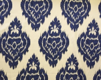 Duralee Ikat Fabric - Navy and Cream - Drapery Fabric by the Yard