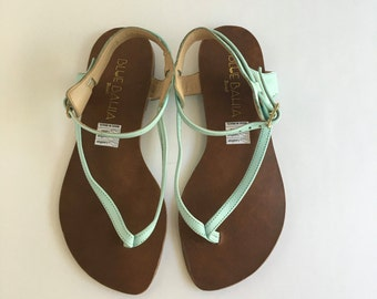 Brazilian Leather Thong Sandals For Women in Minty Blue