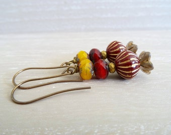 Czech Glass Earrings, Hematite Earrings, Petal Earrings, Butterscotch Earrings, Ruby Red Earrings, Faceted Rondelle Earrings, Gift For Her.
