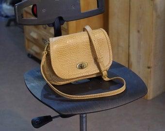 shoulder bag, printed mustard camel crocodile leather