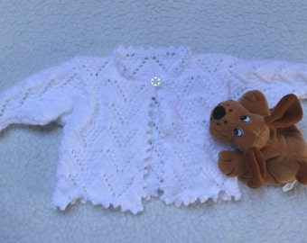 Baby Girls Cardigan / Bolero Jacket 1yrs in White  DK,  hand knitted with single button and Lacy design.