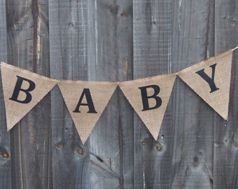 Customisable Burlap / Hessian BABY banner.