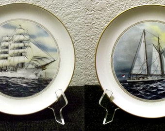 2 Set Danbury Mint The Official Tall Ships Fine China Plate Collections