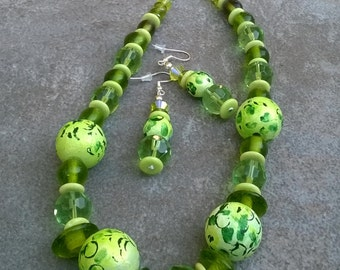Green Glass and Handmade Bead Necklace Set