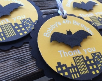 Superhero Gift Tags - Batman Inspired Party, First Birthday, Birthday Party, Party Tags, Favor Tags