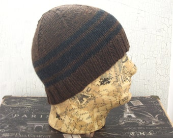Men's Knit Hat, Brown Striped Hat,Gifts for Him, Hand Knit Men's Hat, Men's Beanie, Brown Beanie, Knit Beanie, Winter Accessory