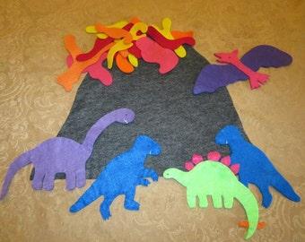 Felt Toys -- Dinosaurs Felt Play Set -- kids toys