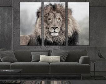 3 Panel Canvas Split, African lion, canvas art, Giclee print ,Interior design, Room Decoration, Photo gift.