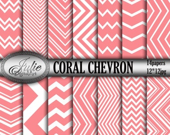 Coral chevron digital paper Pink and white background Zigzag patterns for scrapbook. Instant Download