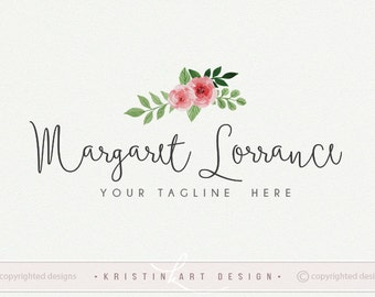 Watercolor logo, Flower logo, Roses logo, Photography logo, Premade logo, Vintage logo design 468