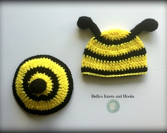 Bee baby crochet tushie cover set 0-3 months