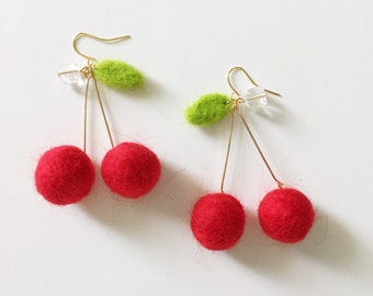 needle felt cherry earrings