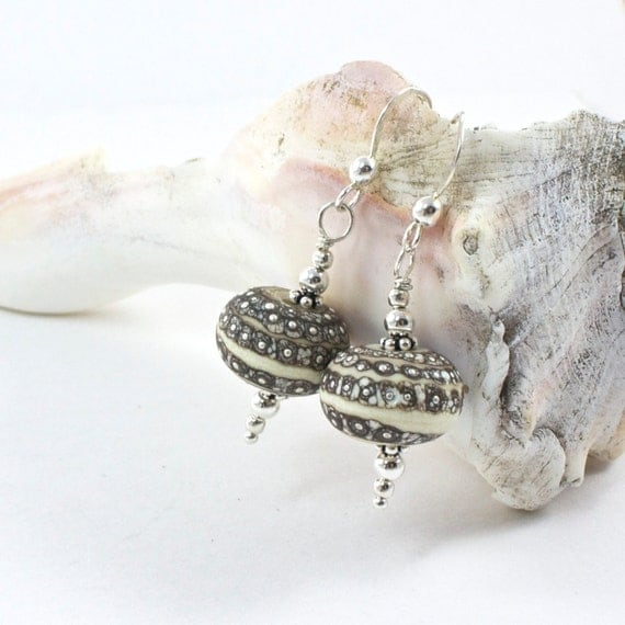 Sterling Silver Lampwork Bead Earrings, Silver Earthtone Earrings, Earthtone Dangle Earrings, Artisan Lampwrok Earringss