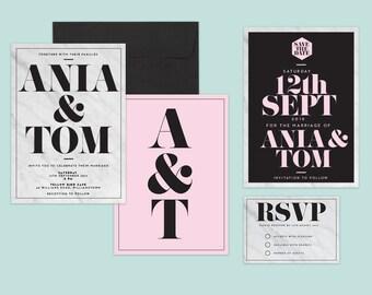 Modern Wedding Invitation, Elegant, Sophisticated Printable Invite, Wedding Suite, Save The Date, RSVP, Marble