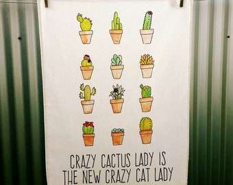 Crazy Cactus Lady - Linen Cotton Teatowel