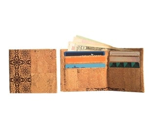 Slim Cork Men Wallet with Portugues Tile Design