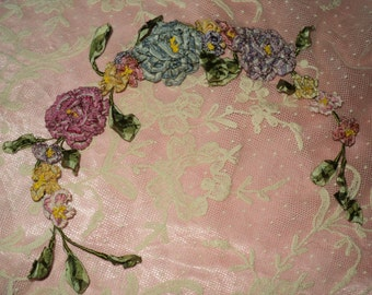 Antique Ribbonwork Large Bouquet Carnations, Rosebuds, Leaves, Applique Milinery Dress Trim 1920's French Handmade