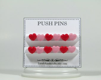 Pink & Red Heart Shaped - Push Pins / Bulletin Board Décor – Set of 12