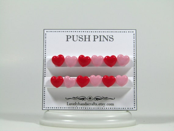 Pink red heart shaped push pins bulletin by for Heart shaped bulletin board
