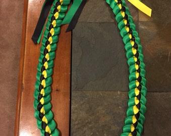Graduation Lei SALE 25% OFF! 2017 Jamaican Lei Green Yellow Black Handmade with Satin Ribbons