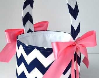 Navy Chevron Flower Girl Basket, Your Choice of Ribbon Color