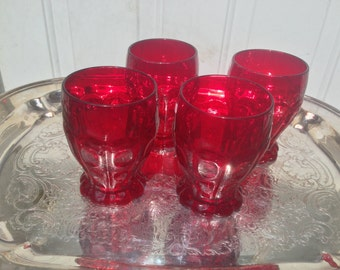Vintage Fentons Dots & Panels #1933 Ruby Red Tumblers - Set of 4