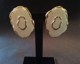 Vintage Gold Tone and White Enamel Clip On/Clip Back Earrings