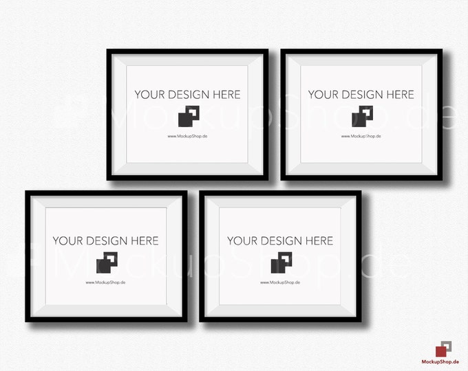 BLACK FRAME MOCKUP 8x10 Set of 4 horizontal Frame mockup Empty Frame Styled Stock Photography, Product Background Mockup, black frame mockup