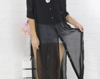 This long sheer shirt is an absolute must have!