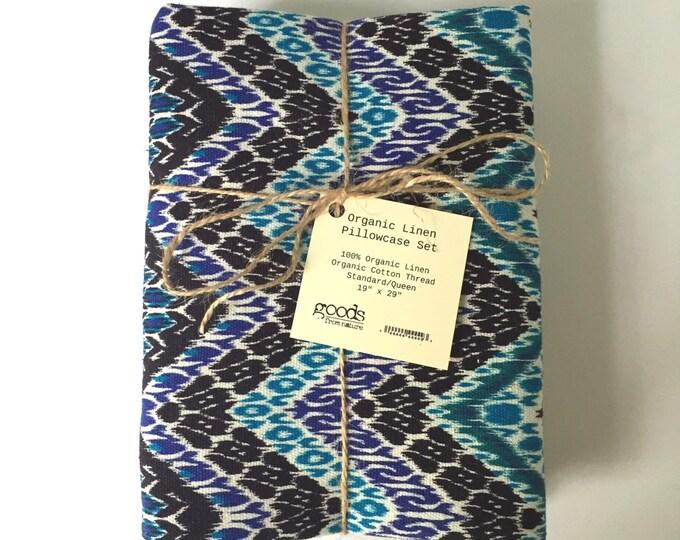 Organic Linen Blue Chevron Pillowcase Sham - Set of 2 Linen Shams - Linen Pillow Shams