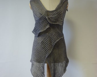 Irregular transparent amazing grey linen top, M size. Perfect for Summer, sexy look.