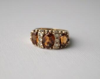 Vintage Sterling Silver Citrine Ring - Citrine Ring - Vintage Citrine Ring - Vintage Silver Ring Silver & Citrine Ring M 1/2 6 1/2
