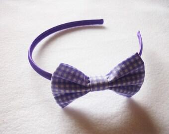 Purple/lilac gingham bow hairband - school uniform alice band - girl's purple hair bow - headband - hair accessory to match school uniform