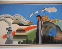 ROCKY MOUNTAINS & Tired Indians - Native American Indian - Cactus - Modern Art - Pop Art - David Hockney 1984 - Matted  - Ready to Frame