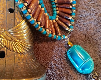 Cleopatra Turquoise Scarab and Wooden Beaded Bib Necklace