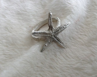 Starfish Ring, Sterling Silver, Cast Starfish, Starfish Band, Size 8, Silver Starfish, Textured Band, Ocean Ring, Sea Creature Ring, Ocean